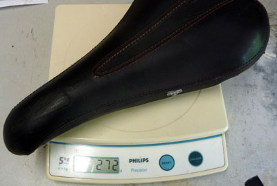 WTB Laser Saddle on the scales at 272g for the crmo railled version