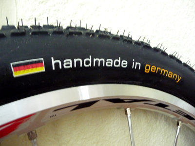Picture of Continental Race King Supersonics sidewall with handmade in germany written on them