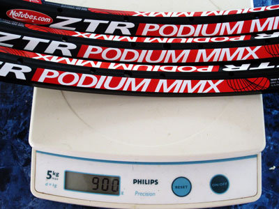 Three Podium MMX rims on the scale at 300g each