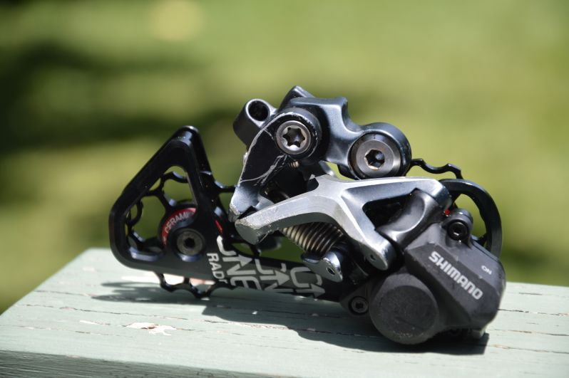 9 speed XTR shadow rear derailleur fitted with clutch mechanism from XT shadow plus
