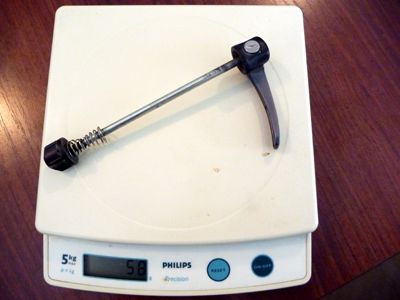 XTR front skewer weighs 58 grams