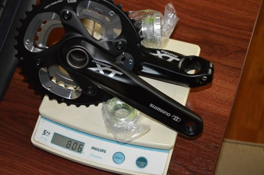 XT 165mm crankset on scale weighed